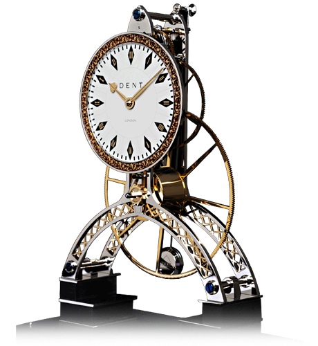 Great Wheel Rhodium Clock